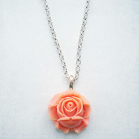 Pink Peach Rose Pendant, Rose Necklace, Flower Pendant, Flower Necklace, Pink P