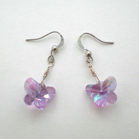 Mauve Butterfly Earrings, Crystal Earrings, Drop Earrings, Dangle Earrings