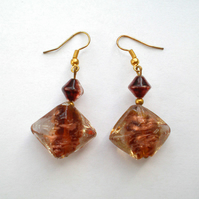 Gold Brown Diamond Shape Earrings, Ladies Gift, Woman's Present