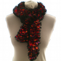 Red, Yellow and Purple Ruffle Scarf, Ladies Summer Scarf, Women's Scarves
