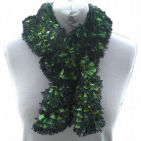Green Ruffle Scarf, Ladies Scarf, Summer Scarf, Apple and Emerald Green Scarf.
