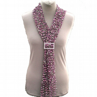 Pink, and Cream Ladies Ladder Yarn Scarf with Diamente Look Buckle Slider,