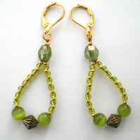 Green and Gold Bead Earrings, Drop Earrings, Loop Earrings, Dangle Earrings