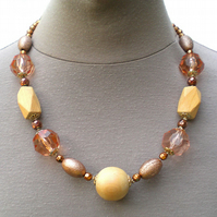 Copper and Beige Bead Necklace, Wooden Bead Necklace, Copper Jewellery