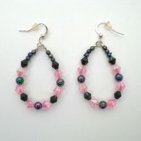 Pink and Black Loop Earrings, Bead Earrings, Tear Drop Earrings, Dangle Earrings