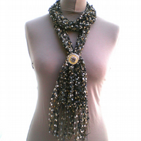 Black, Gold and Cream Ladder Yarn Scarf with Ring Clip, Ladies Scarf