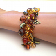 Gold, Copper, Brown and Amber Bead Bracelet, Gold Bracelet, Chain Bracelet,