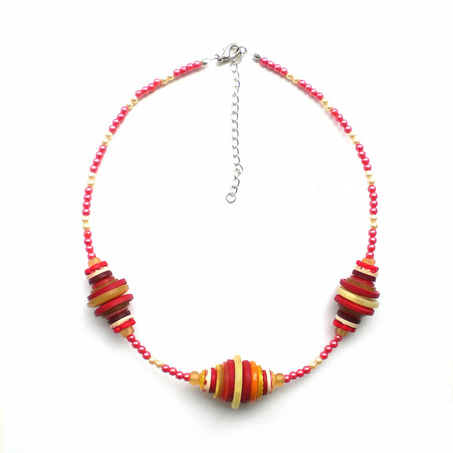 Red and Yellow Button and Bead Necklace, Bead Necklace, Button Necklace