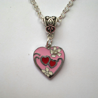 Pink and Red Enamel Heart Pendant, Heart Necklace, Pink Pendant, Pink Necklace