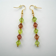 Green, Brown and Gold Bead Earrings, Drop Earrings, Dangle Earrings