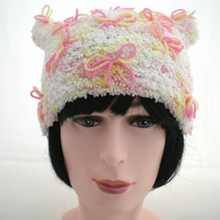 Child's Ladies, Woman's White Pink and Yellow Fluffy Winter Hat, Gift for Her,