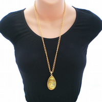 Gold Tear Drop Pendant, Long Gold Necklace