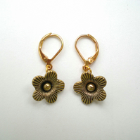Tiny Gold Flower Drop Earrings