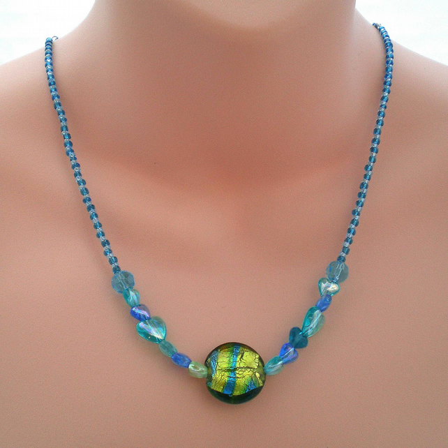 Turquoise Blue Heart Bead Necklace, Unique Jewellery
