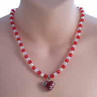 Red Bead Necklace with Heart Locket Pendant