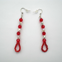 Red and Clear Bead Earrings, Long Dangle Earrings