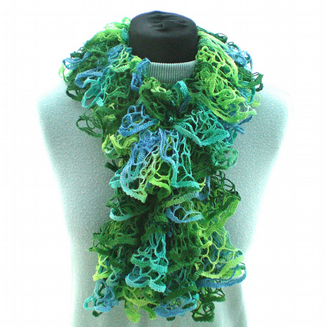 Green and Blue and Yellow Ruffle Scarf, Ladies Scarf, Summer Scarf, Lacy Scarf