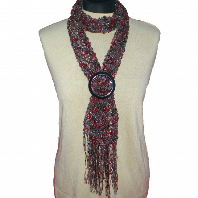 Black and Red Ladder Yarn Scarf with Buckle Slider, Summer Scarf, Lacy Scarf