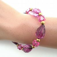 Rose Pink and Gold Bead Bracelet, Pink Bracelet, Tear Drop Bead Bracelet