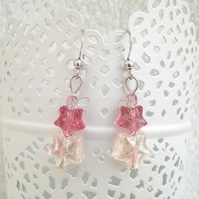 Pink Star Bead Earrings, Star Earrings, Bead Earrings, Drop, Dangle Earrings