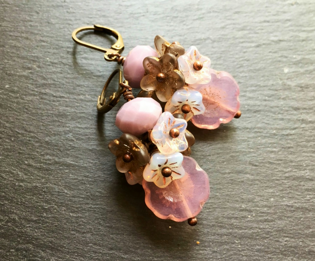 Cotton Candy Blooms Czech Glass Floral Cluster Drop Earrings