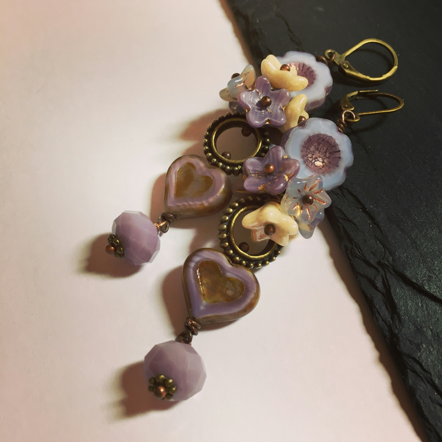 Lilac Czech glass heart and floral cluster long dangle earrings