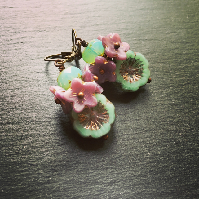 Czech Glass Earrings Czech Flower Cluster Earrings Czech Table Cut Bloom Earring