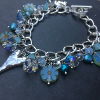 Silver Heart and Crystal Charm Bracelet