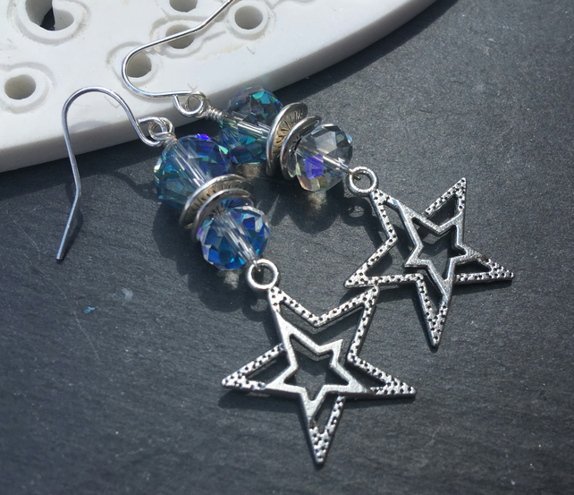 Long Tibetan Silver Stars and Crystal Stacked Earrings