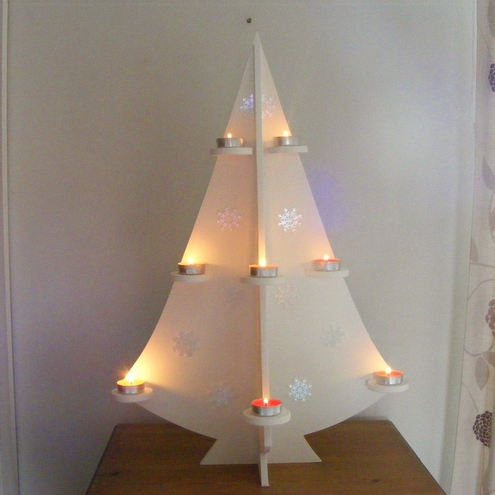 White Christmas Tree with candle shelves