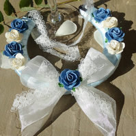 Wedding Horseshoe - Blue Rose & White Cherry Blossom