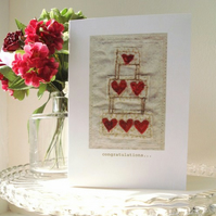 printed greeting card sewn wedding cake (100% recycled)