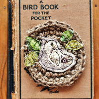 crochet nest bird brooch