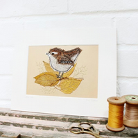 wren textile art mount