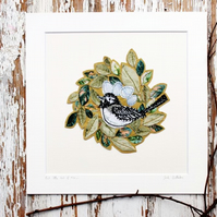 nest textile art mount