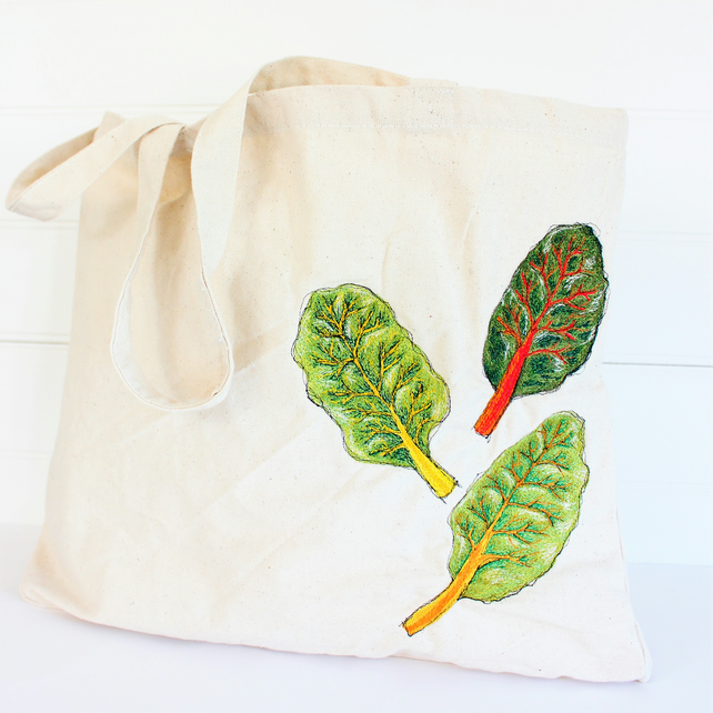 eco rainbow chard tote bag