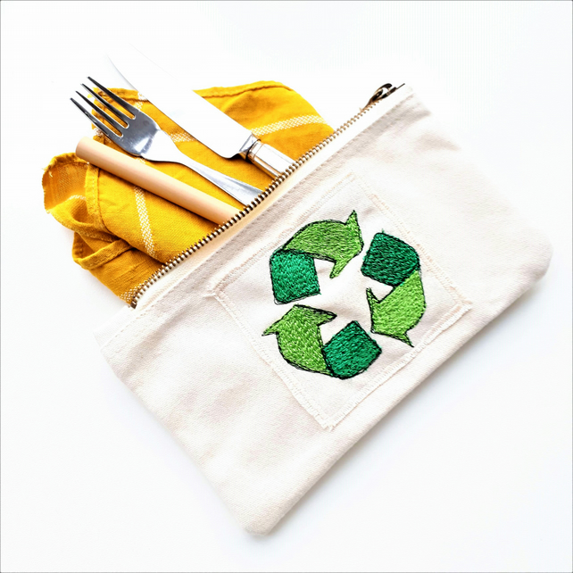 eco embroidered recycle logo case ( zero waste pouch)