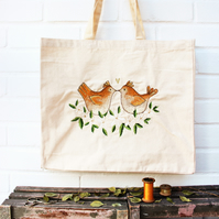 eco love birds tote bag