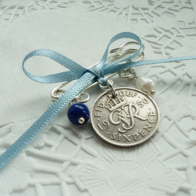 Something Old, New, Borrowed Blue Wedding Bridal Lucky Sixpence Charm