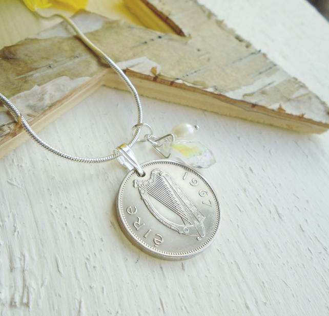 50th Birthday Sixpence Necklace - Irish Sixpence Gift for a Woman