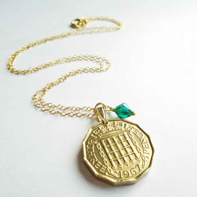 50th Birthday 1967 Threepenny Necklace - Gold Vermeil- Brass British Threepenny