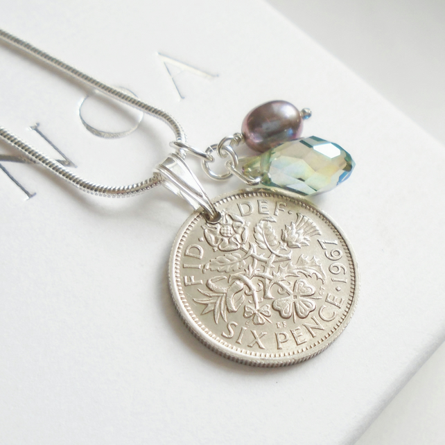 50th Birthday Gift - 1967 Sixpence Necklace - 50th Wedding Anniversary