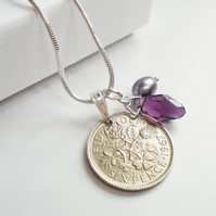 50th Birthday Gift - 1967 Sixpence Necklace - 50th Wedding Anniversary Coin Gift
