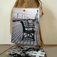 BLACK AND WHITE SEASIDE PIER 16 X 12 SIZE 300 PIECE JIGSAW PUZZLE
