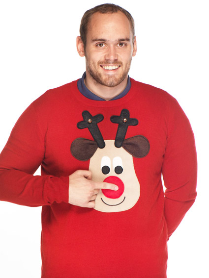 Novelty Christmas Jumper Rudolph Squeaky Nose - Men's XS-XXL
