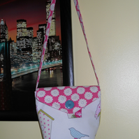 REVERSIBLE BIRD AND FLOWERS SHOULDER ACCROSS BODY BAG