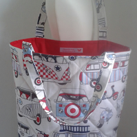 RETRO CAMPERS & SCOOTERS QUILTED TOTE BEACH BAG