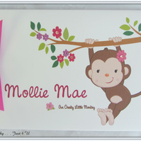 PERSONALISED GIRLS  CHEEKY MONKEY BABY FIRST BIRTHDAY PHOTO ALBUM OR GUEST BOOK