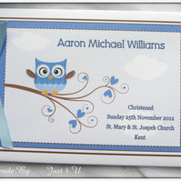 PERSONALISED OWL CHRISTENING  NAMING DAY  GUEST BOOK  PHOTO ALBUM SCRAPBOOK
