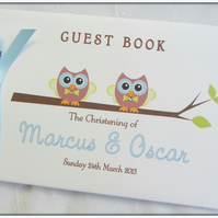 PERSONALISED BOY GIRL- TWINS OWLS- CHRISTENING- PHOTO SCRAPBOOK ALBUM-GUEST BOOK